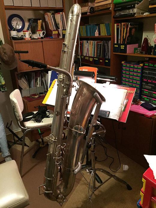vintage sax, Buescher bass saxophone, silver sax, bass saxophone stand