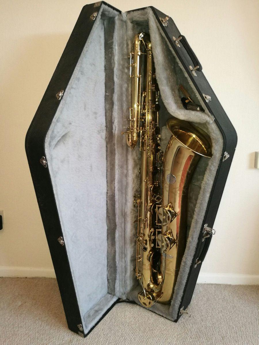 Orsi bass saxophone, bass sax in case, big saxophone, Italian saxophone, modern bass saxophone, vintage American-style bass saxophone