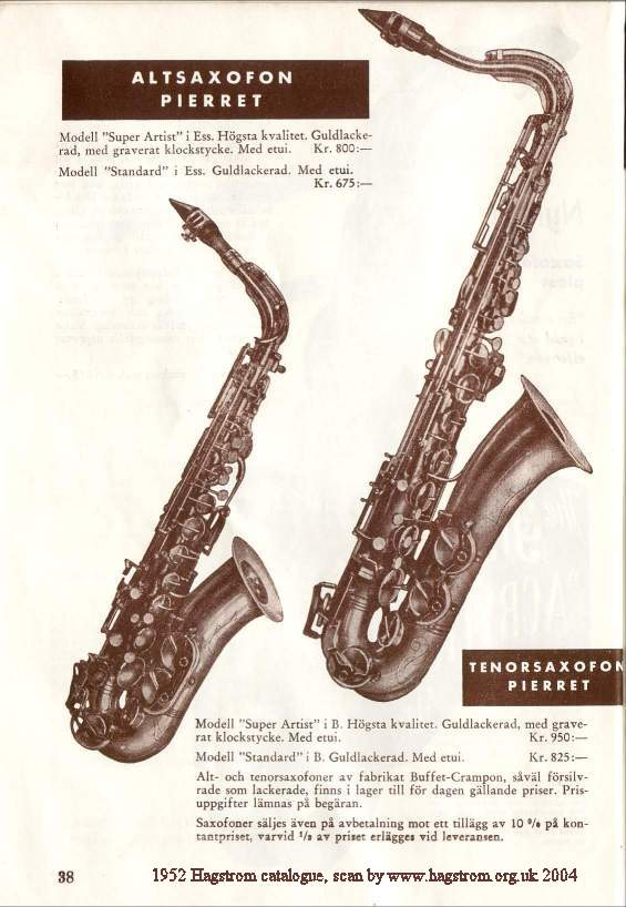 Pierret, vintage catalogue page, from 1952, Super Artiste & Standard saxophones, alto sax, tenor sax