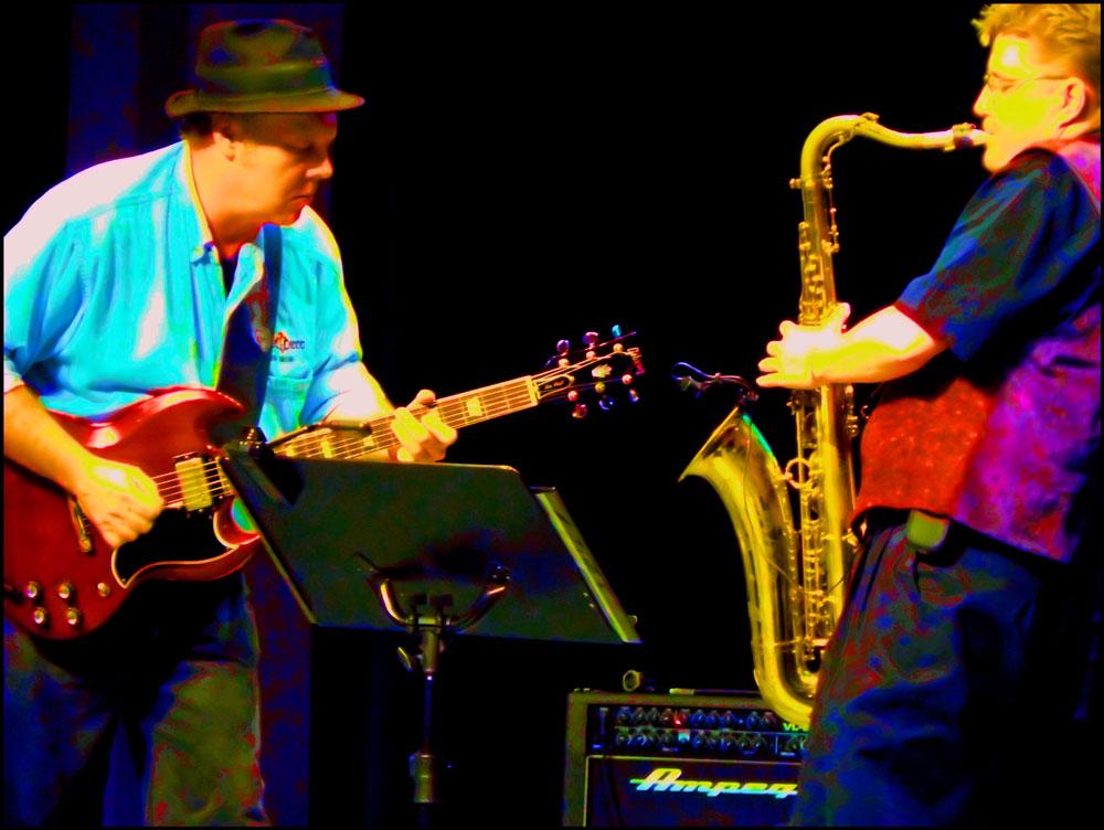 guitar player, Gibson, saxophone player, Selmer Mark VI tenor saxophone, male musician, female musician, Deception blues band