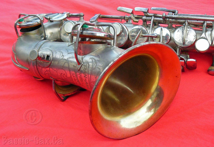 Pan American, soprano saxophone, red cloth, silver sax, gold washed bell