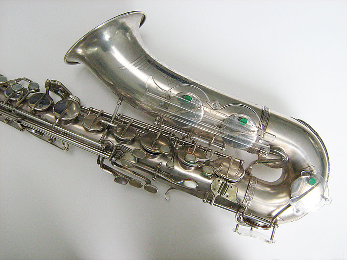 tenor saxophone, acrylic key guards, Hammerschmidt, Klingsor, silver plated, German, vintage
