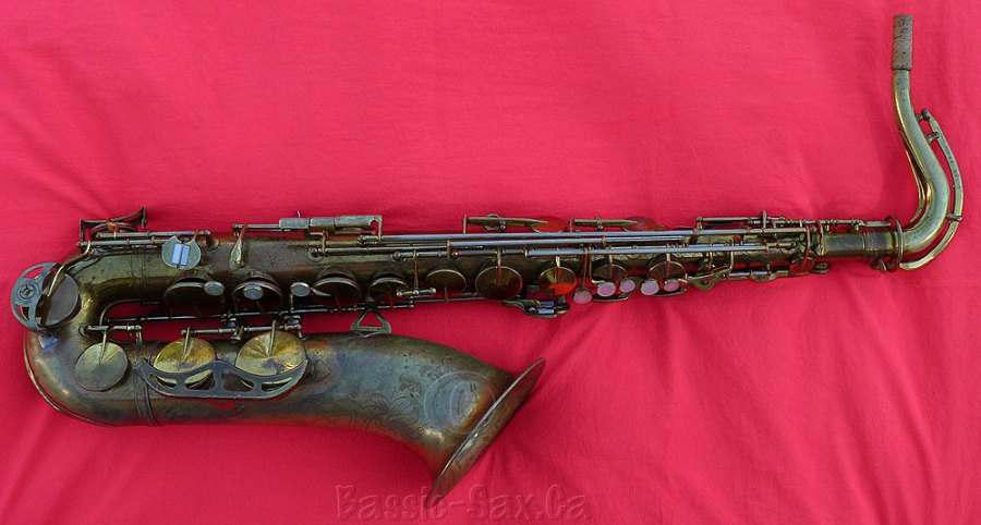 Zephyr tenor sax, tenor sax, red cloth, delacquered