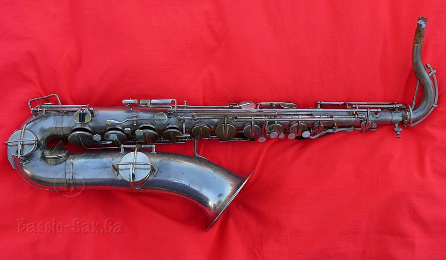 tenor saxophone, Martin Handcraft sax, silver plated, red cloth background