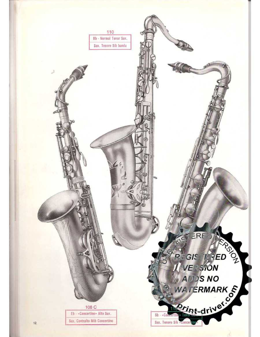 old catalogue page, Orsi, student models, alto, tenor, saxophones,