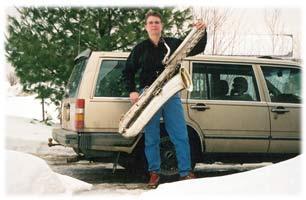 Volvo. 1987, 740 GLE wagon, bass saxophone, Helen Kahlke, snow, pine tree