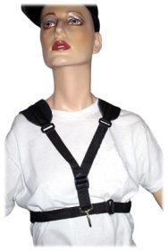 mannequin, saxophone harness,