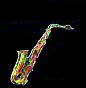 saxophone, alto sax, thumb nail image, multi-coloured sax, photo effects, plastic