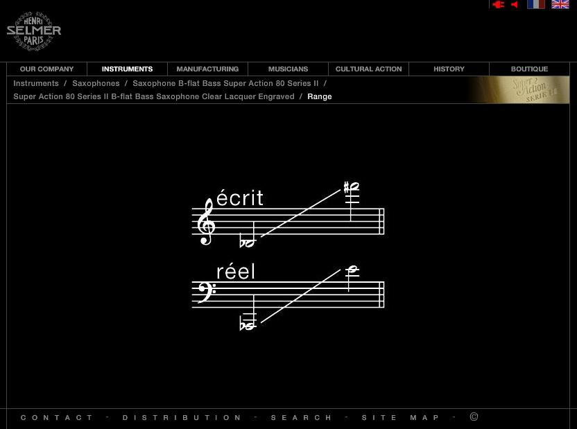 Selmer, bass saxophone range, Series II