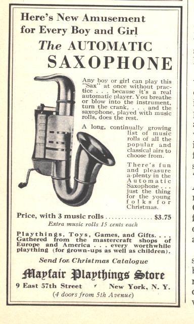 vintage ad, wind-up saxophone saxophone, circa 1929, Playasax