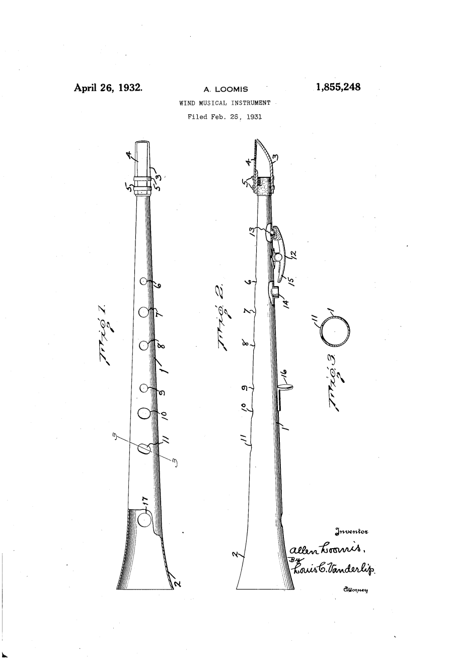 Clar-O-Sax patent drawing, A. Loomis, April 26, 1932, 1,855,248