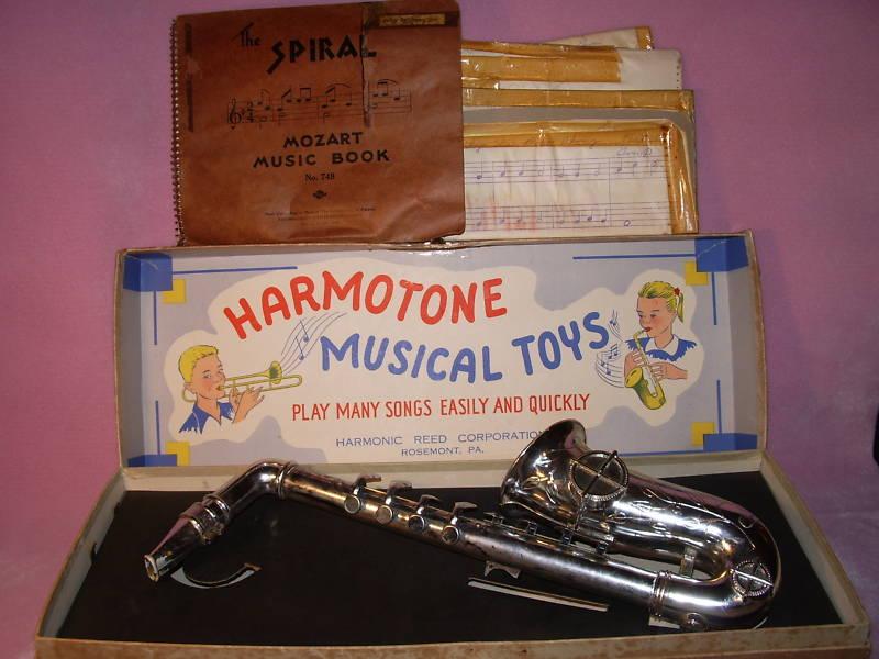 Harmotone toy sax, vintage toy saxophone, original box, sheet music