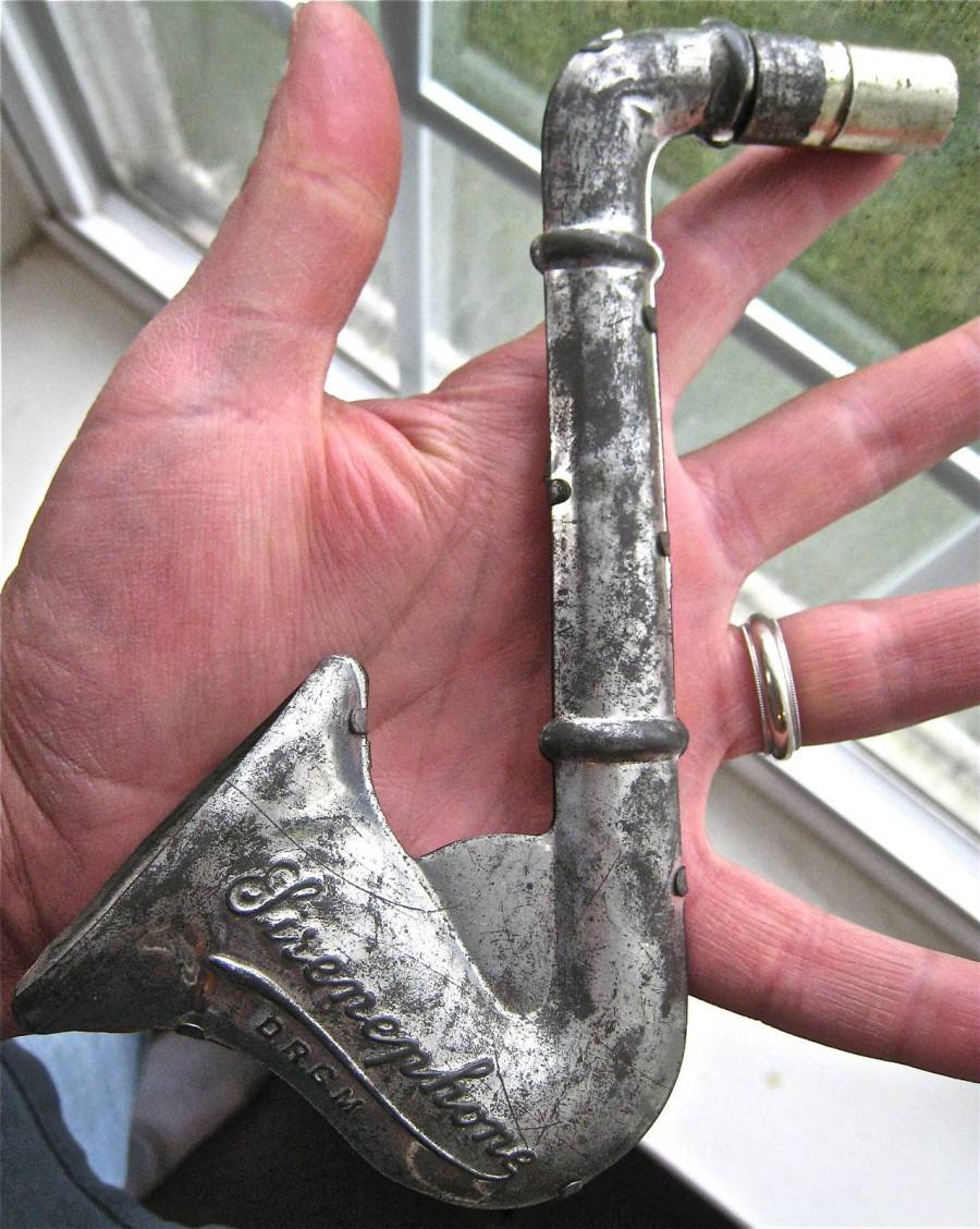 vintage, German, saxophone-shaped,  tin musical toy, Sirenephone,