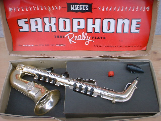 Magnus toy saxophone, toy sax, vintage, plastic, carrying case/box
