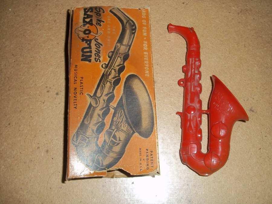 Sax-o-Fun Spike Jones toy sax, vintage saxophone-shaped toy