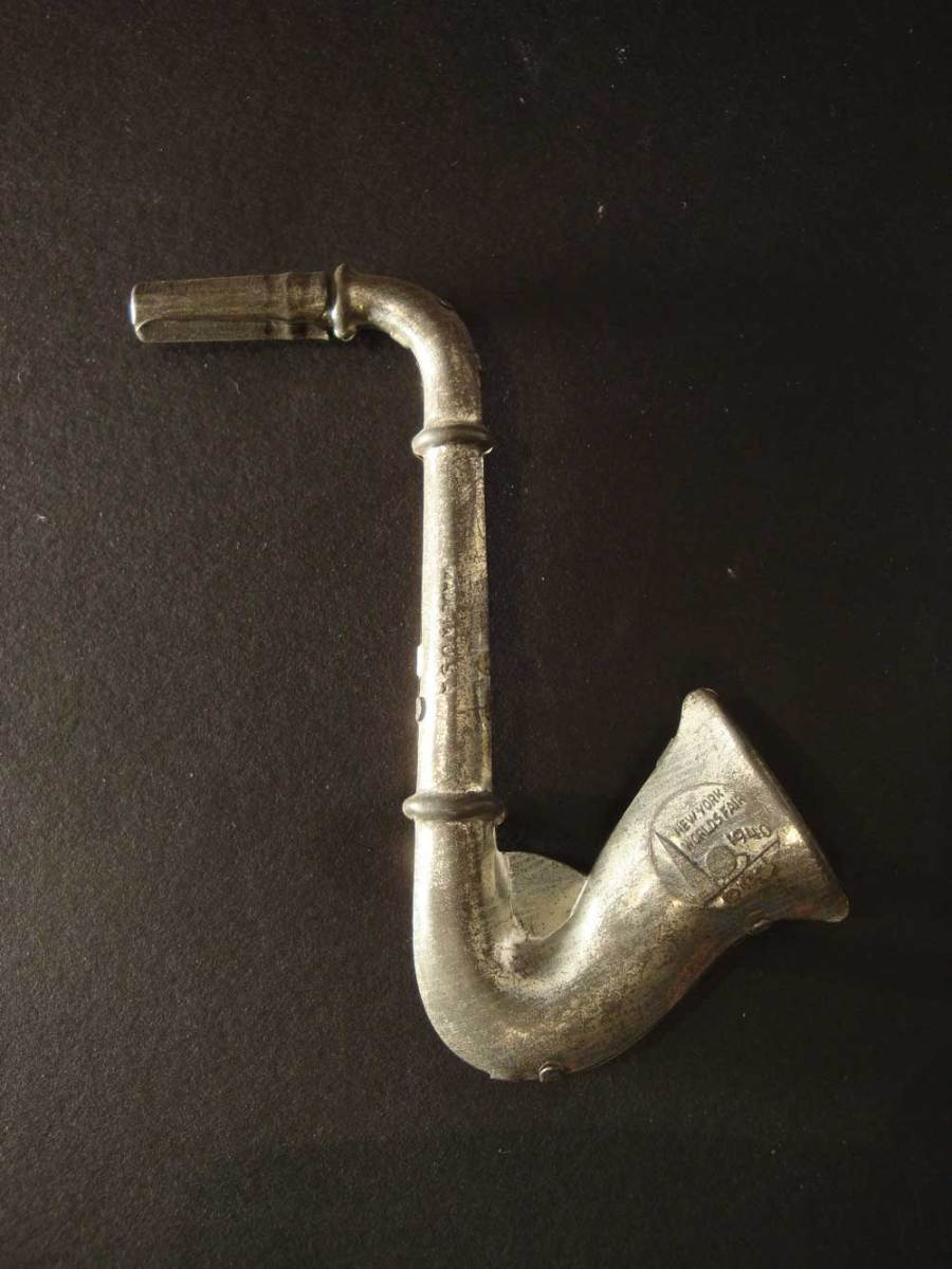 saxophone-shaped, 1940 New York World's Fair, souvenir, collectible, metal