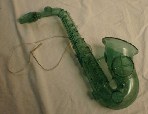 Duperite Plastics, toy sax, clear green plastic, vintage