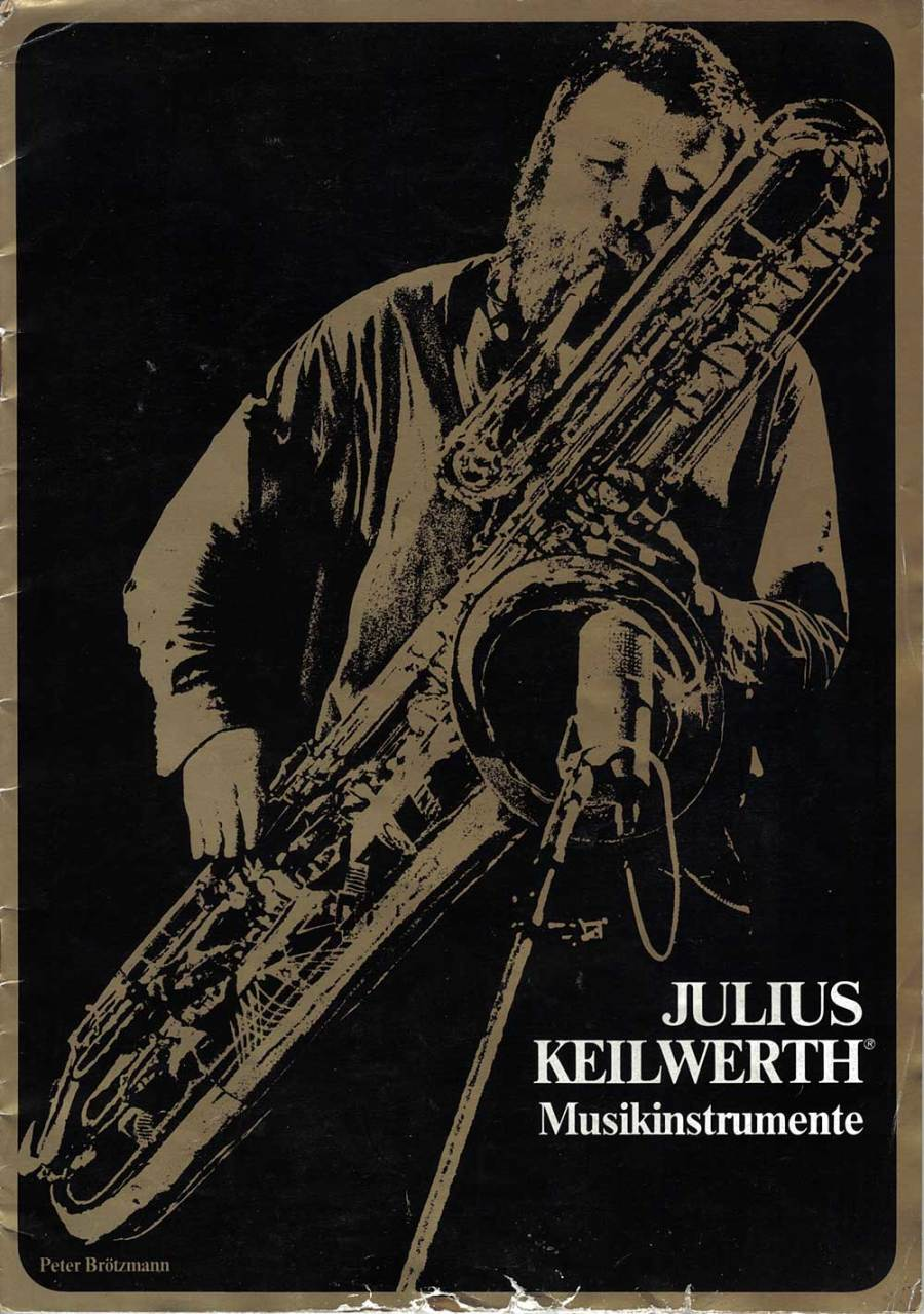 Julius Keilwerth, saxophone, front cover, brochure, German, bass sax, sax player, black, gold, vintage, 1970s