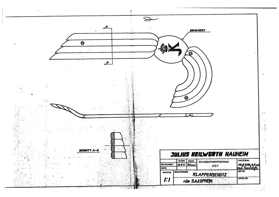 Julius Keilwerth, patent application, drawing, key guard, angel wing, plexiglas