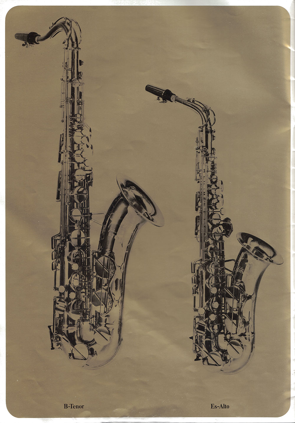 Julius Keilwerth, saxophones, vintage, German, brochure, 1979, page 3, alto, tenor, gold, black