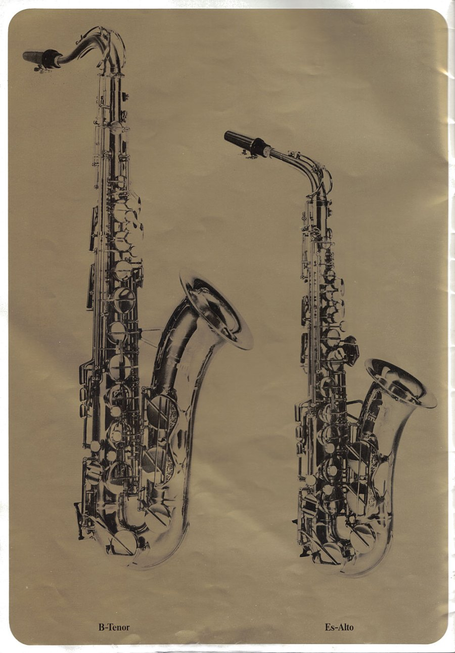 Julius Keilwerth, saxophones, vintage, German, brochure, 1979, page 3, alto, tenor, gold, black