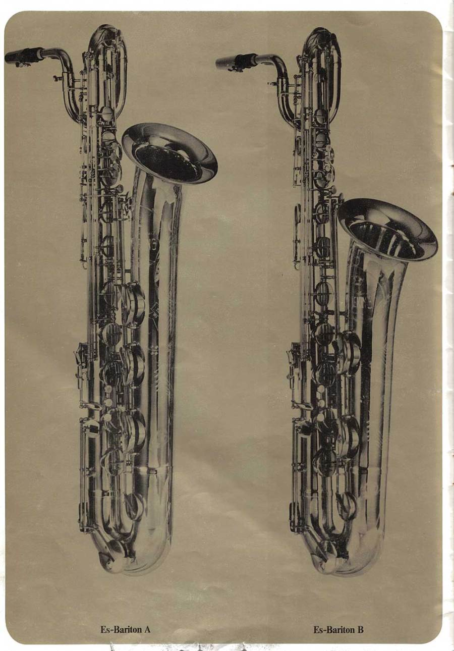 Julius Keilwerth, vintage, German, brochure, 1979, page 7, black, gold, saxophone, barione