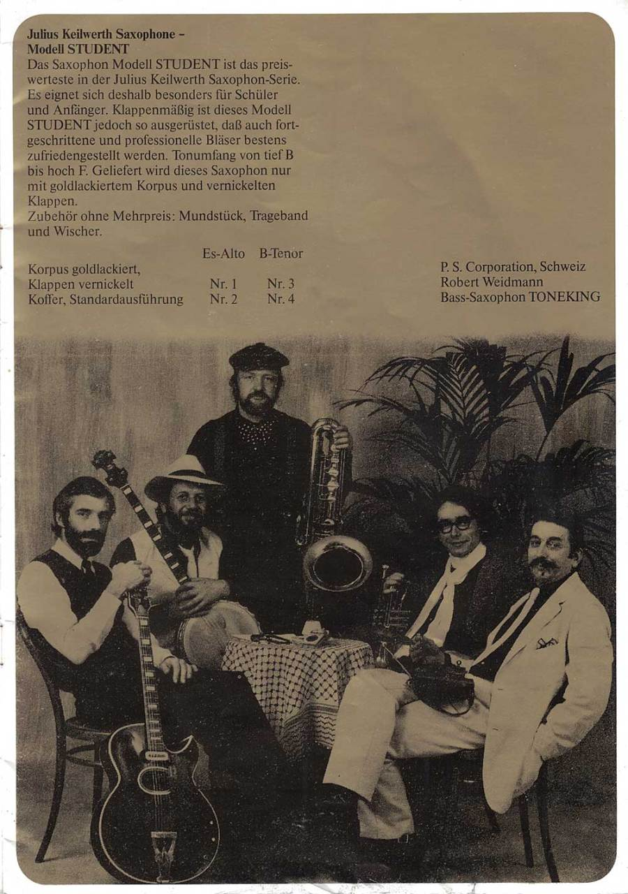 Julius Keilwerth, saxophones, German, vintage, brochure, 1979, page 4, musicians, black, gold