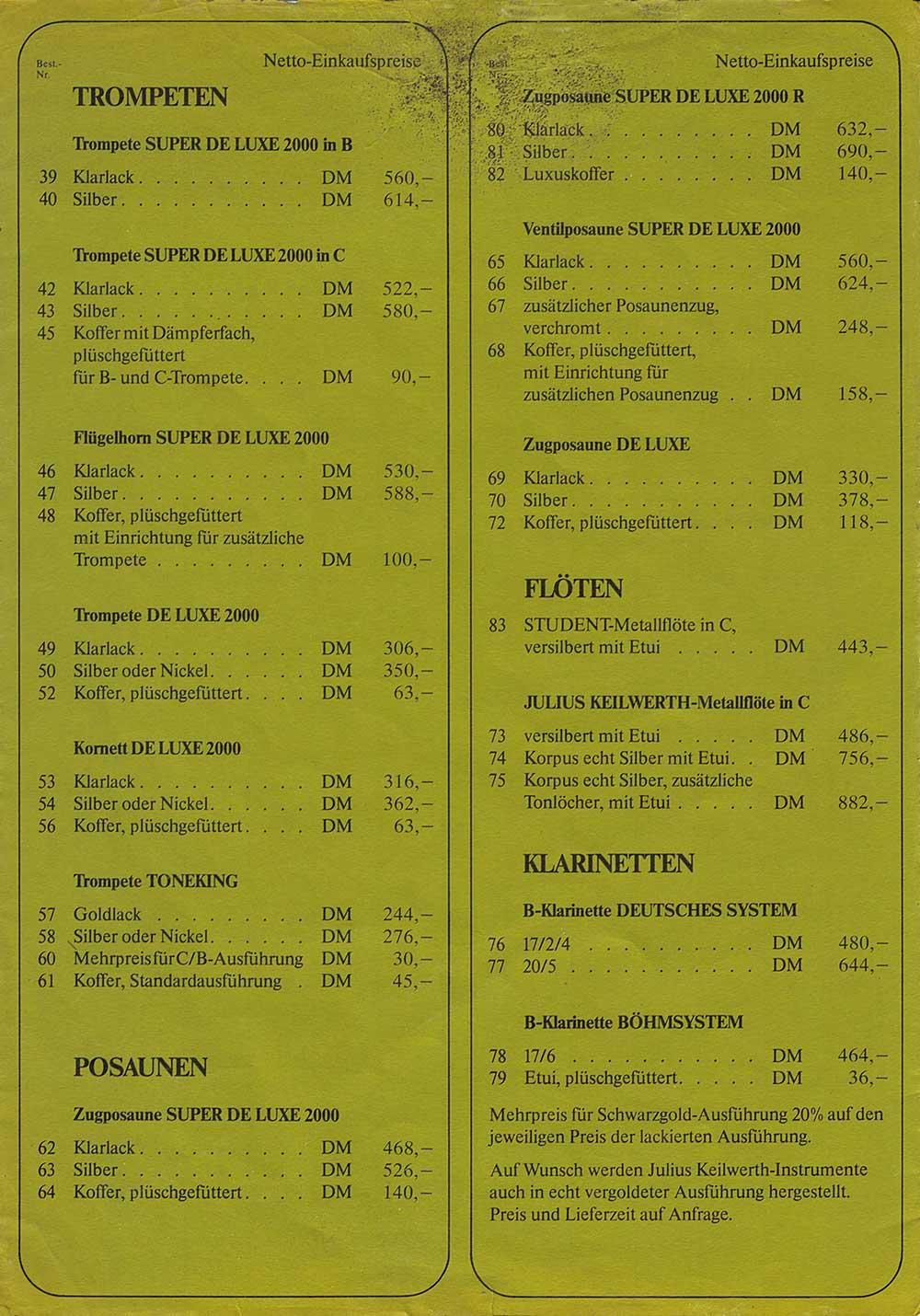 """Julius Keilwerth, vintage, German, musical instruments, price list, """"other"""" price list"""