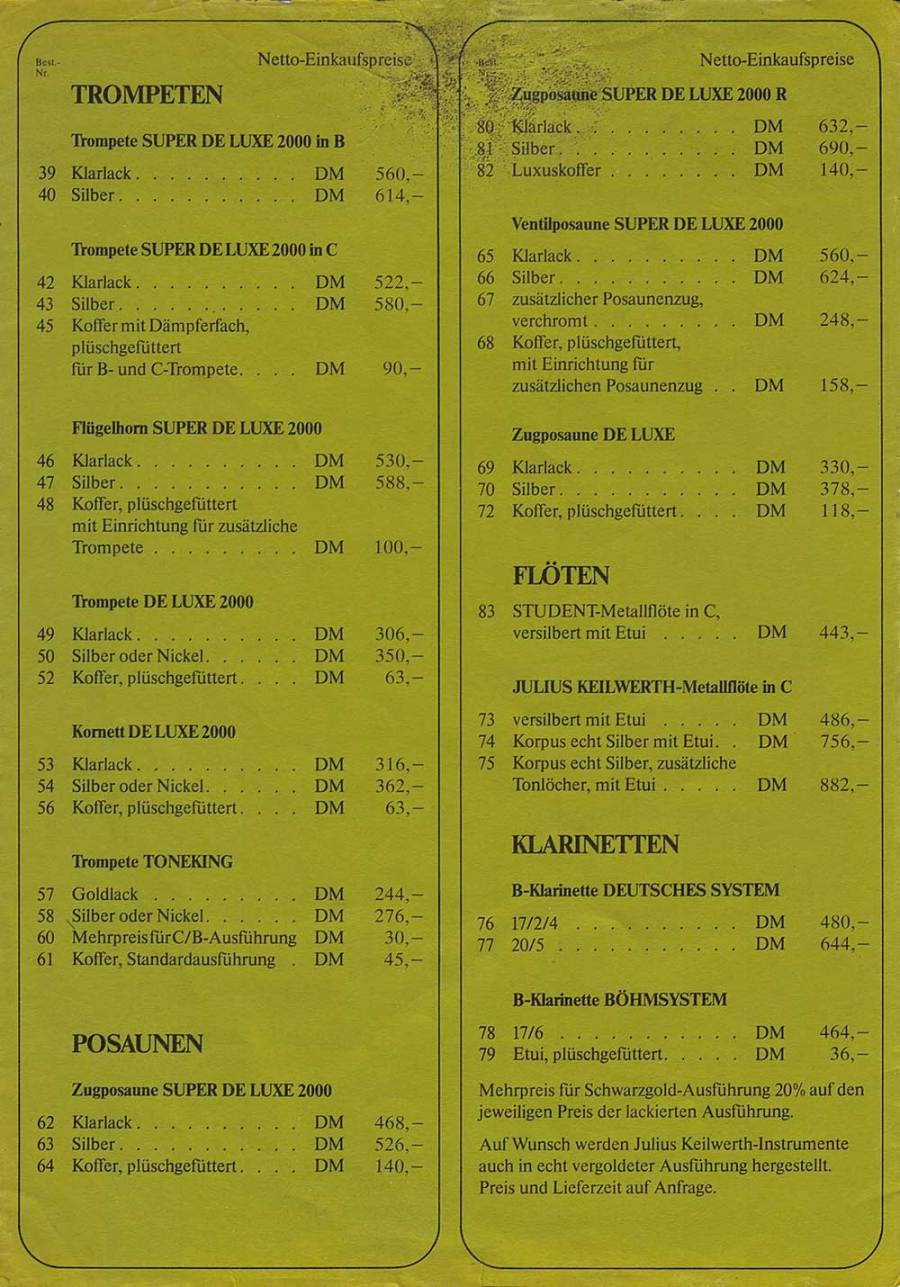 "Julius Keilwerth, vintage, German, musical instruments, price list, ""other"" price list"