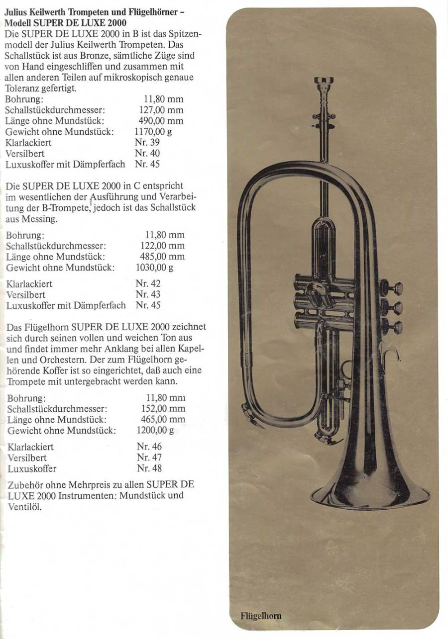 Julius Keilwerth, vintage catalogue, flugelhorn, 1979, page 14, black, gold