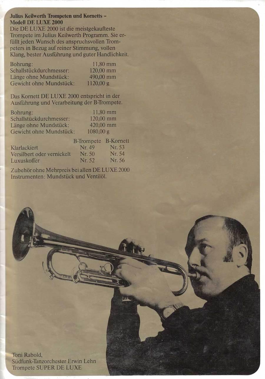 Julius Keilwerth, vintage, catalogue, 1979, page 16, trumpet, trumpet player, black, gold