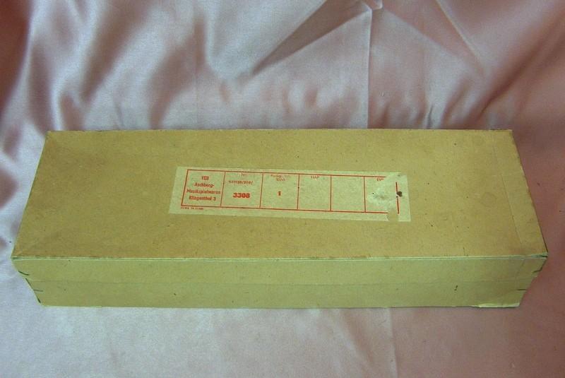 Klingenthaler Toy Sax, vintage, cardboard box, toy saxophone, blow accordion, East German