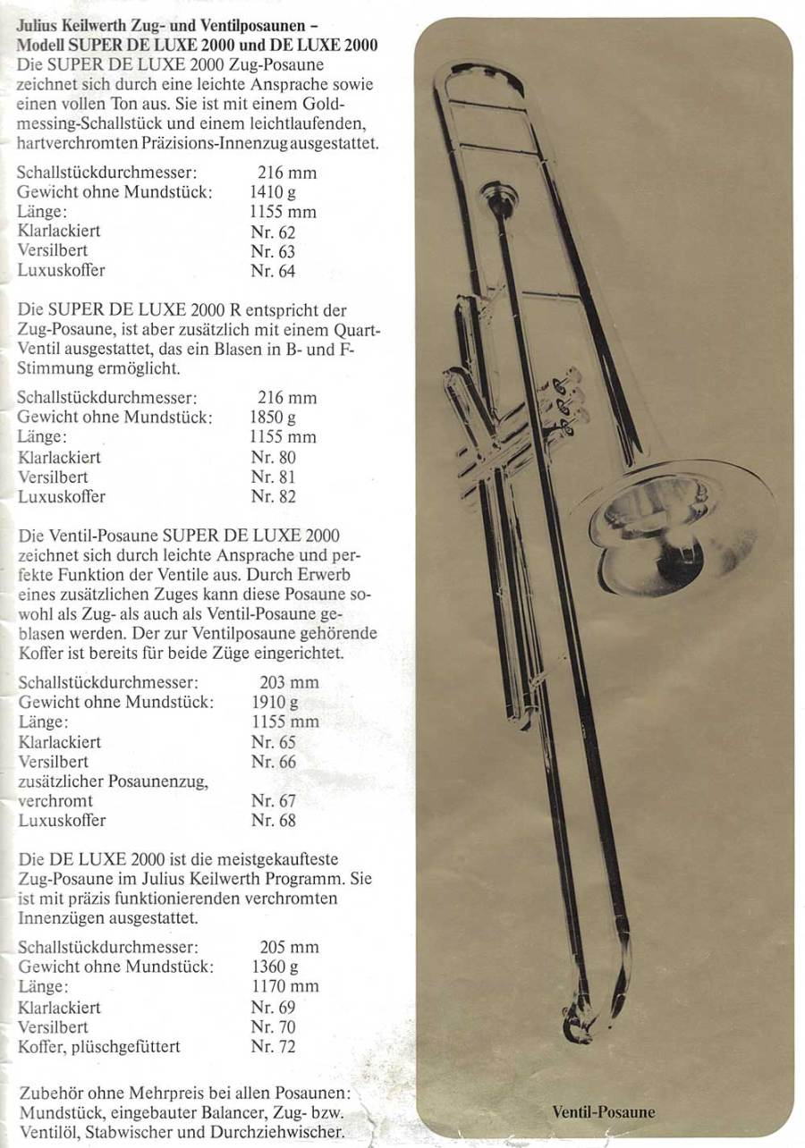 Julius Keilwerth, vintage catalogue, 1979, page 20, black, gold, trombones