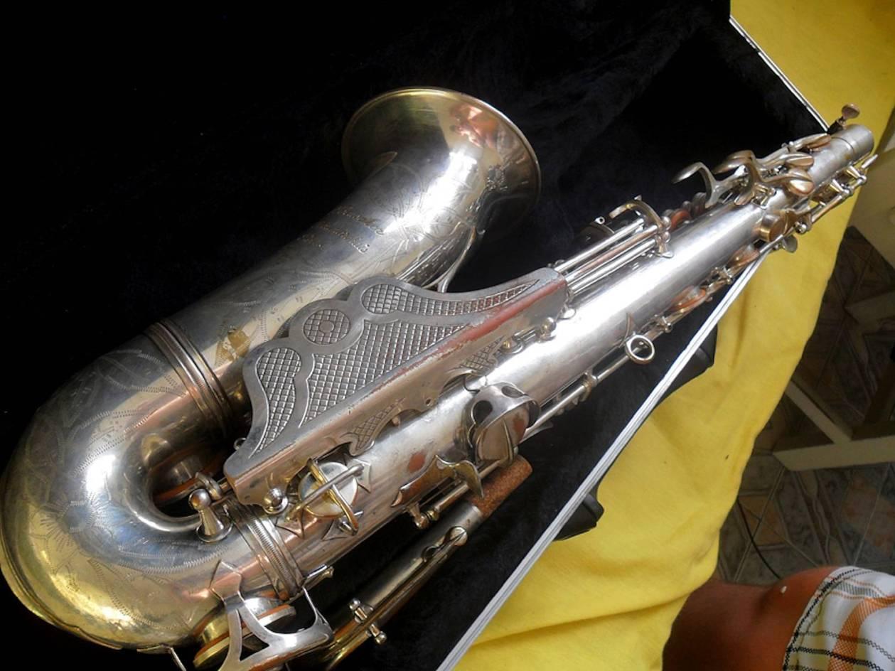 alto sax, Maurice Boiste, vintage French saxophone, fancy clothes guard,