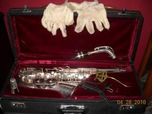alto saxophone, sax case, white gloves, lyre, neck strap,