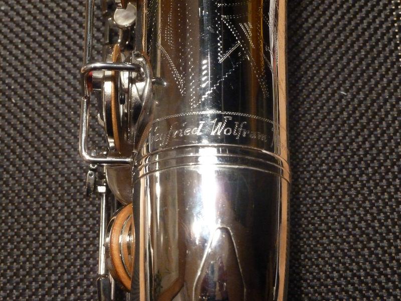 tenor sax, Siegfried Wolfram saxophone, silver sax, vintage, East German saxophone,