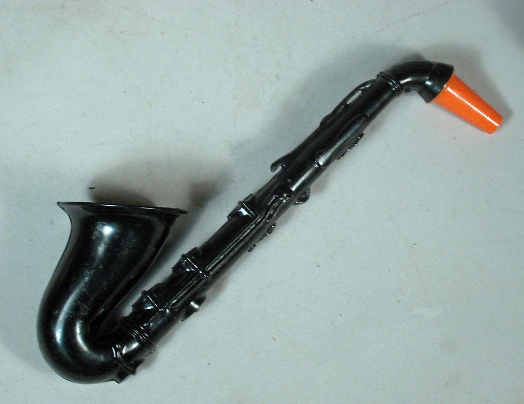 black plastic toy sax, vintage toy sax, vintage noise maker