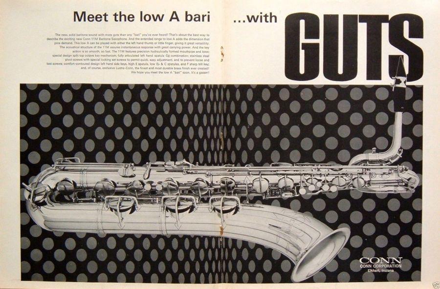 1969 11M Ad, Conn baritone saxophone, Conn low A bari sax, Conn 11M print ad, vintage print ad