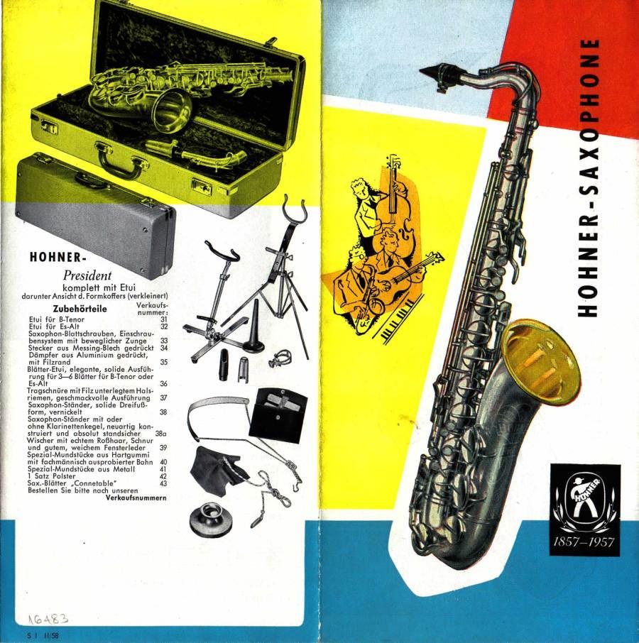 front & back covers, President tenor saxophone, vintage brochure, 1958, German, vintage saxophone, Hohner President