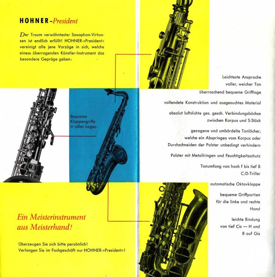 Hohner President saxophone, vintage brochure, 1958, President info, German