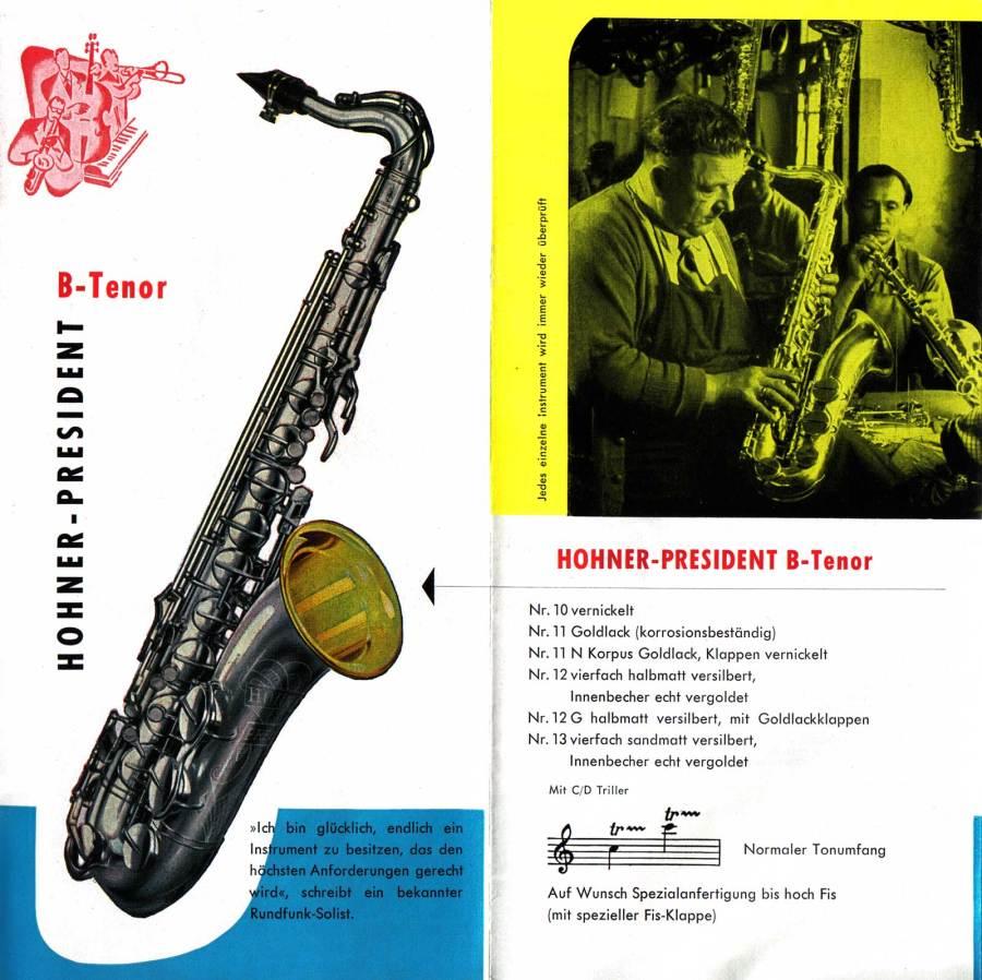 President tenor saxophone, vintage brochure, 1958, German, vintage saxophone, Hohner President