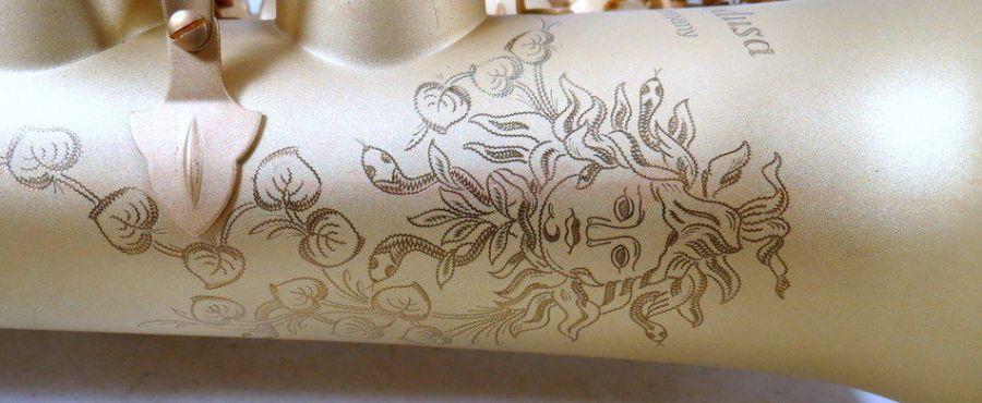 Series 2006 - Medusa, saxophone bell engraving, Medusa saxophone, Medusa head engraving, sandblast finish