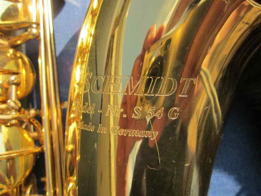 F. Schmidt saxophone, B&S stencil saxophone, saxophone bell, German saxophone
