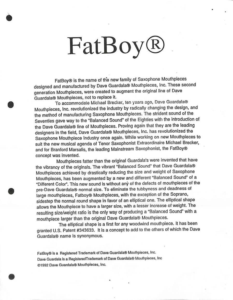 Dave Guardala, FatBoy, mouthpiece, brochure, saxophone