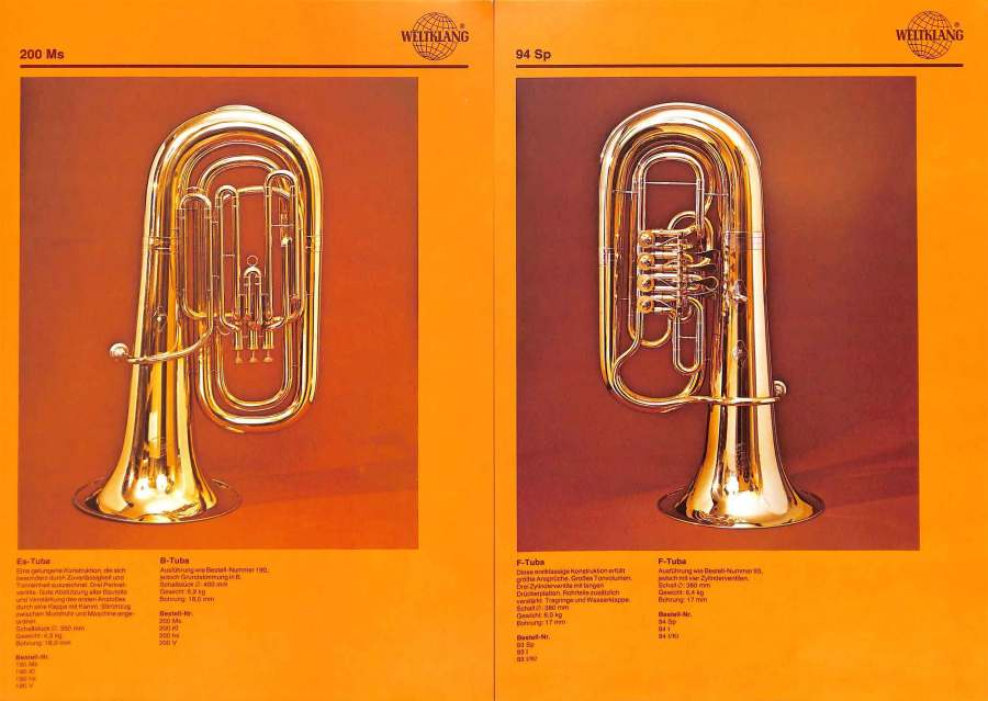 Weltklang, Bb tuba, F tuba with rotary valves, vintage colour print literature, VEB Blechblas- und Signal-Instrumenten-Fabrik (B&S), GDR, DDR, German musical instruments