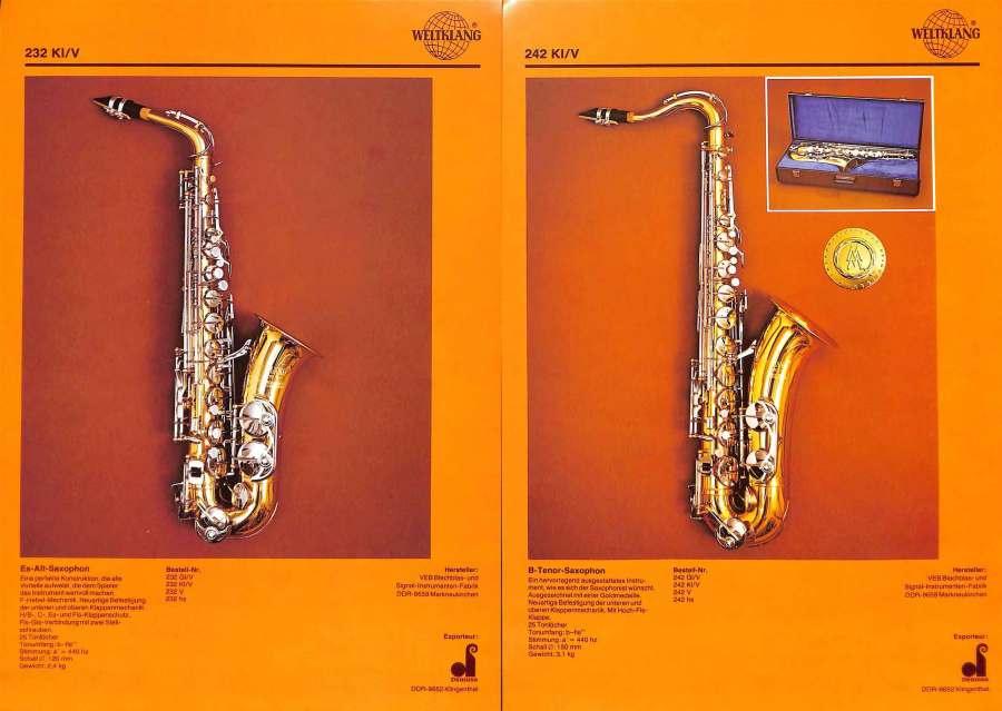 Weltklang alto sax, Weltklang tenor sax, vintage colour print literature, VEB Blechblas- und Signal-Instrumenten-Fabrik (B&S), GDR, DDR, German musical instruments
