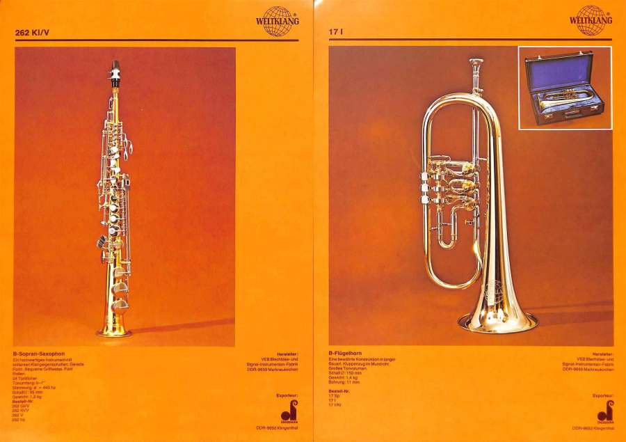 Weltklang soprano sax, rotary valve Bb flugelhorn, vintage colour print literature, VEB Blechblas- und Signal-Instrumenten-Fabrik (B&S), GDR, DDR, German musical instruments