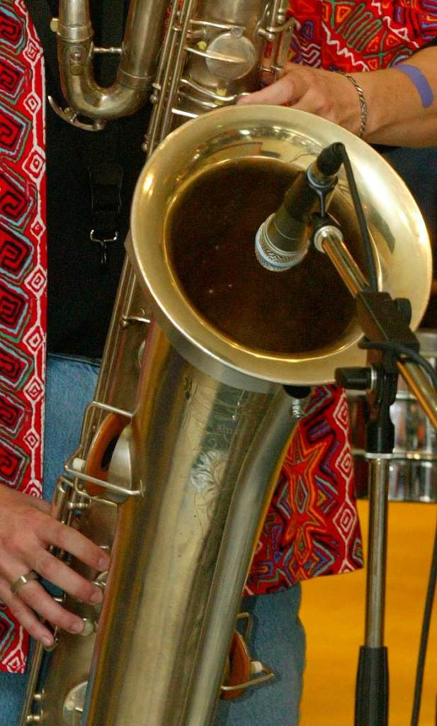 Bassic Sax home page, bass saxophone, microphone, sax bell, saxophonist