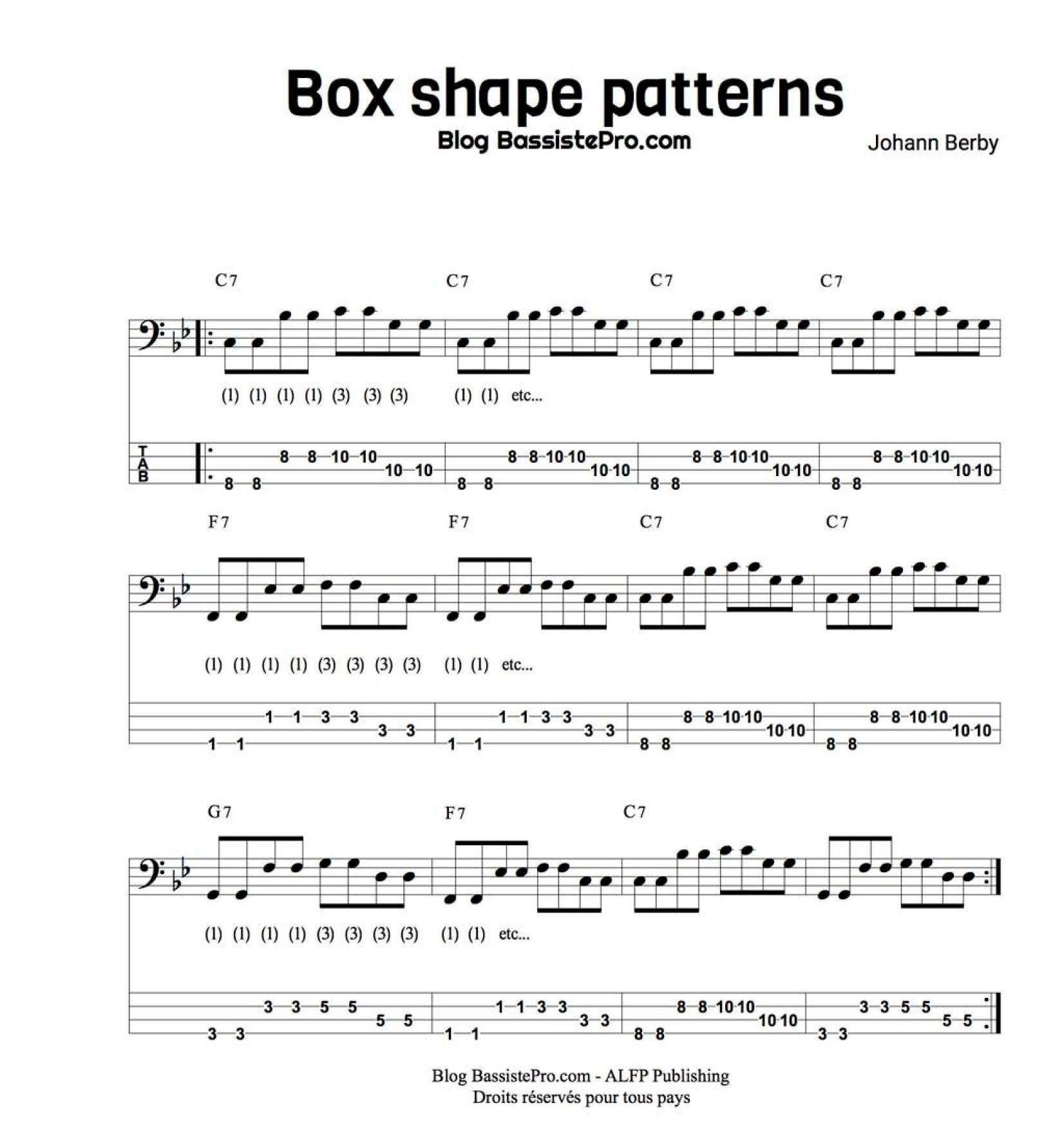 box shape patterns apprendre le blues a la basse 1