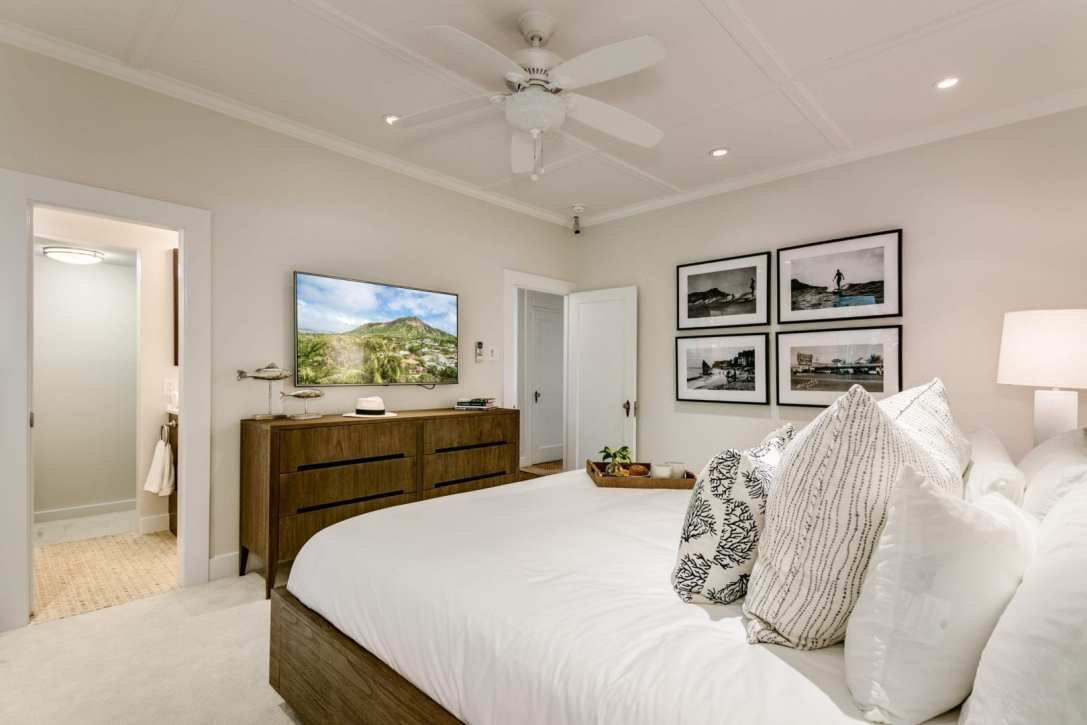 Interior Design Bedroom Coastal White Neutral Honolulu Oahu Hawaii Luxury
